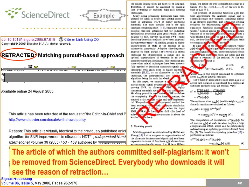 161 Example The article of which the authors committed self-plagiarism: it wont be removed from ScienceDirect.