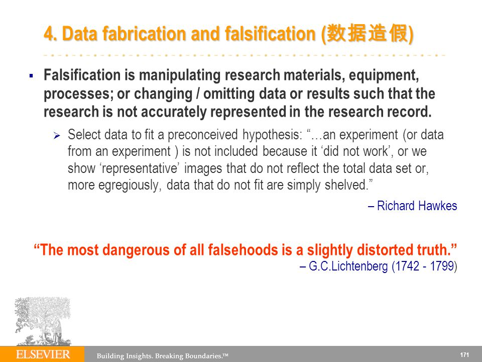 171 4. Data fabrication and falsification ( ) Falsification is manipulating research materials, equipment, processes; or changing / omitting data or r