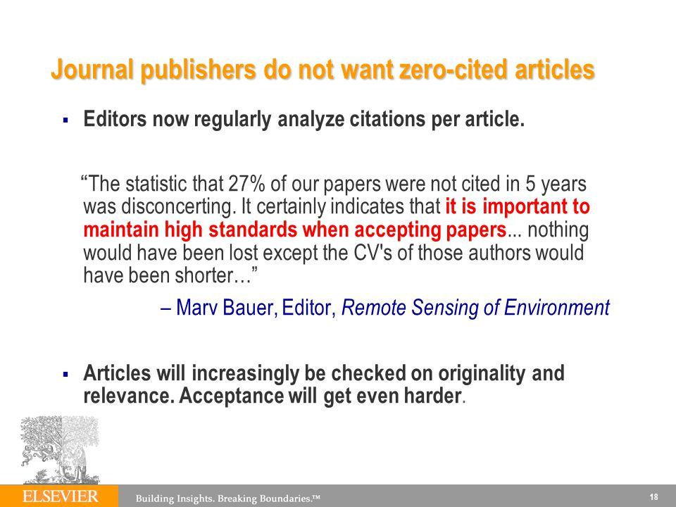 18 Editors now regularly analyze citations per article.