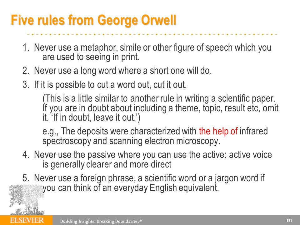 181 Five rules from George Orwell 1.
