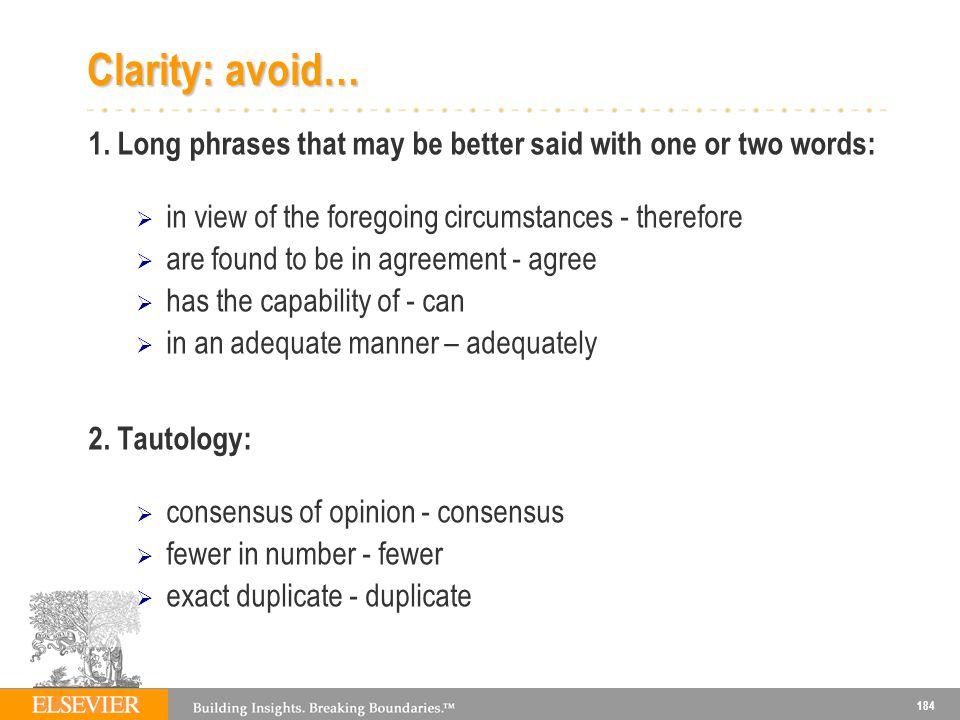 184 Clarity: avoid… 1.