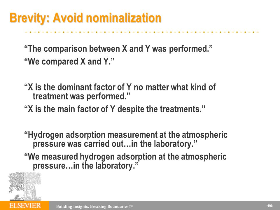 190 Brevity: Avoid nominalization The comparison between X and Y was performed.
