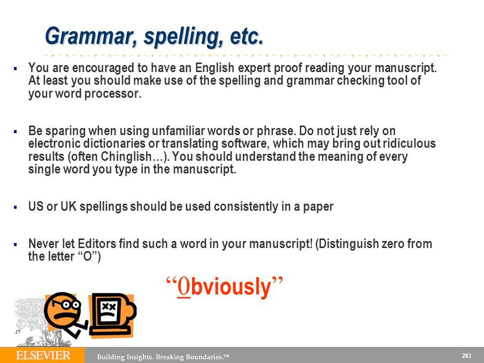 203 Grammar, spelling, etc.