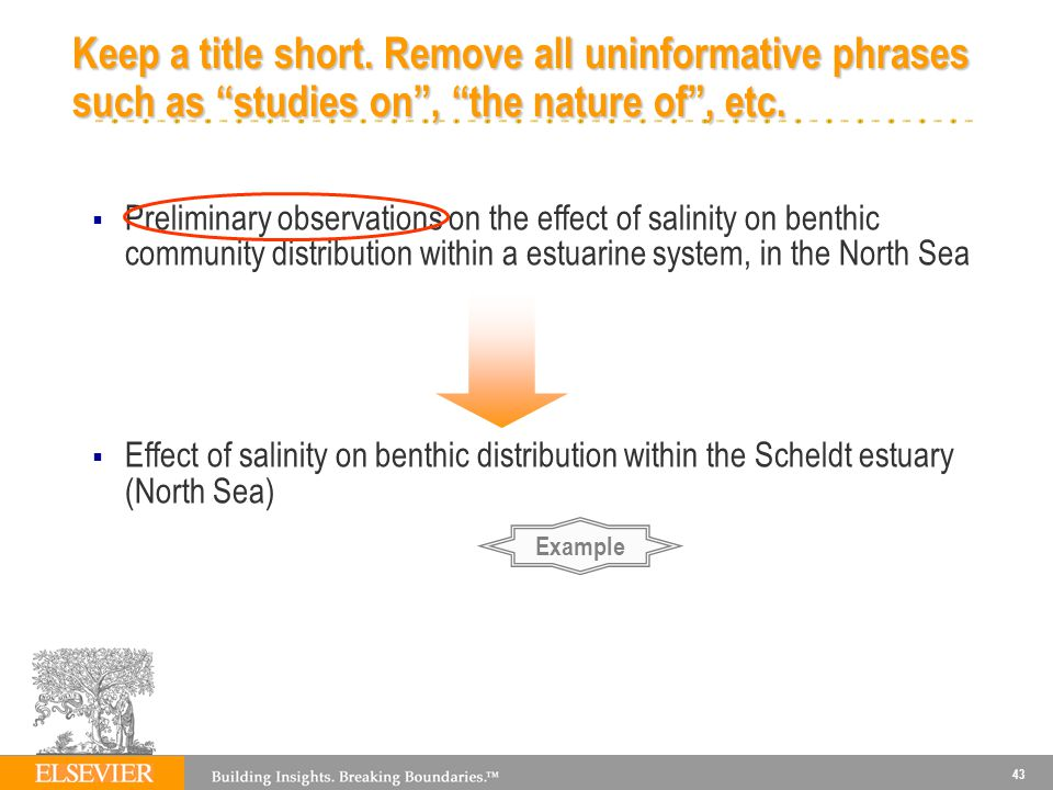 43 Keep a title short.Remove all uninformative phrases such as studies on, the nature of, etc.