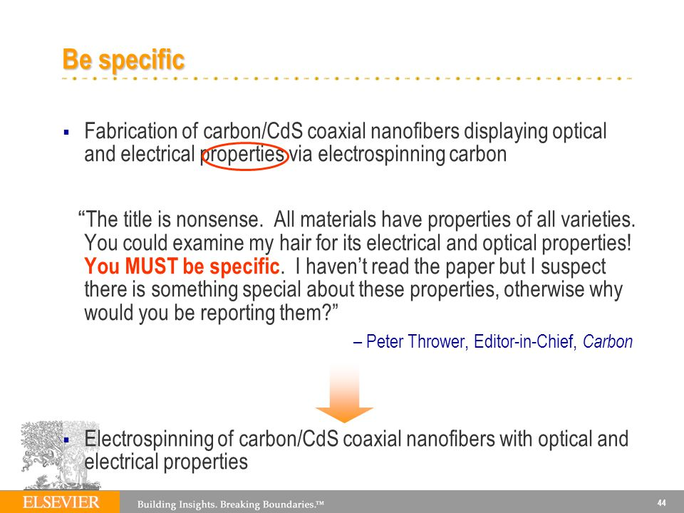 44 Be specific Fabrication of carbon/CdS coaxial nanofibers displaying optical and electrical properties via electrospinning carbon The title is nonsense.