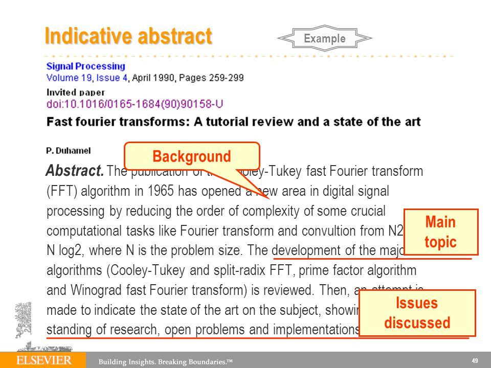 49 Indicative abstract Abstract.