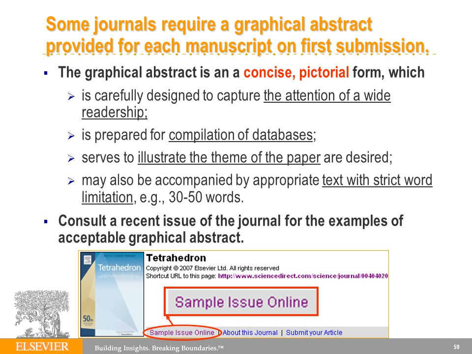 59 Some journals require a graphical abstract provided for each manuscript on first submission.