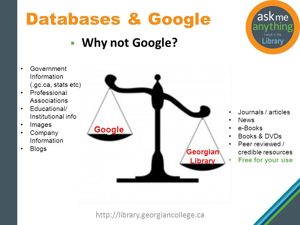 Databases & Google http://library.georgiancollege.ca Why not Google.