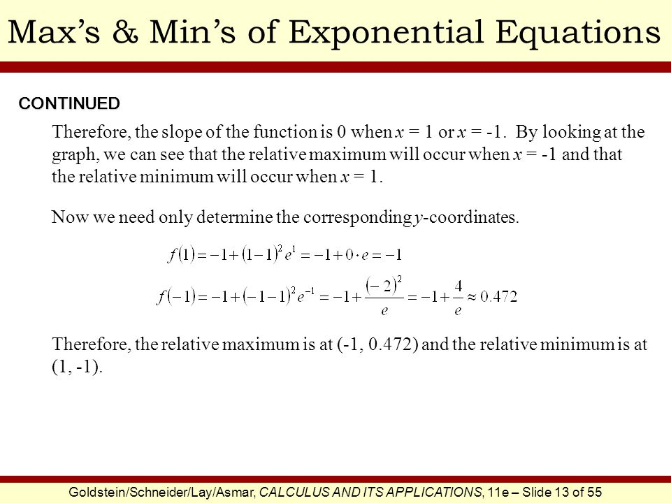 Goldstein/Schneider/Lay/Asmar, CALCULUS AND ITS APPLICATIONS, 11e – Slide 13 of 55 Maxs & Mins of Exponential EquationsCONTINUED Therefore, the slope