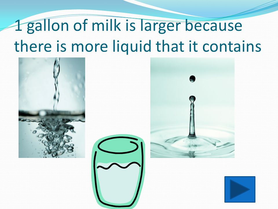 1 gallon vs 1 pint Consider: 1 gallon of milk vs 1 pint of milk