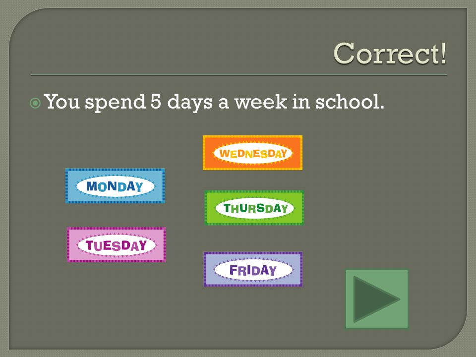 You spend 5 days a week in school. 8 days is a week and one day.