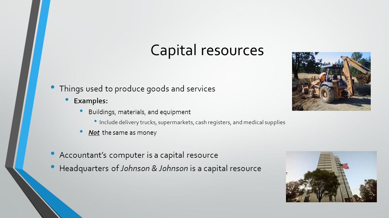Capital resources Things used to produce goods and services Examples: Buildings, materials, and equipment Include delivery trucks, supermarkets, cash