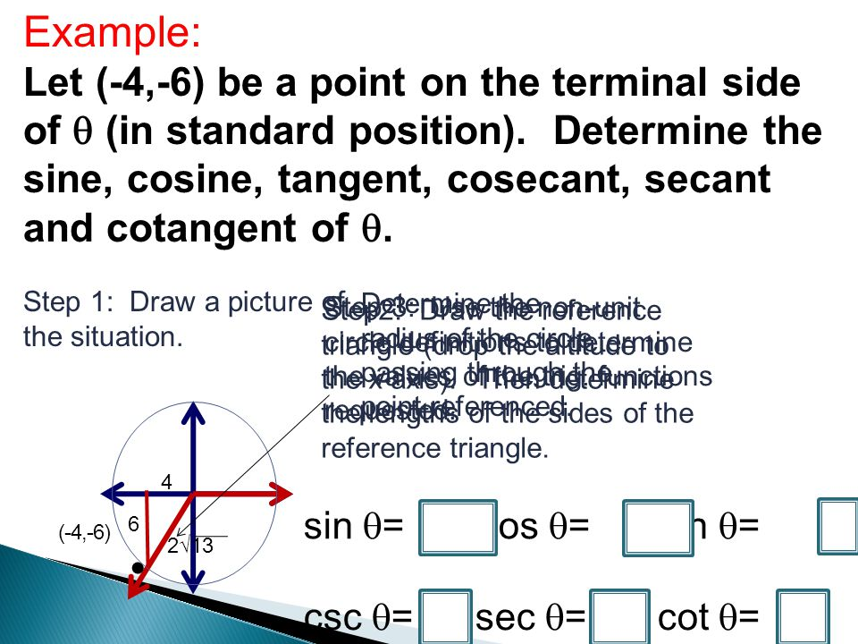 Example: Let (-4,-6) be a point on the terminal side of (in standard position). Determine the sine, cosine, tangent, cosecant, secant and cotangent of