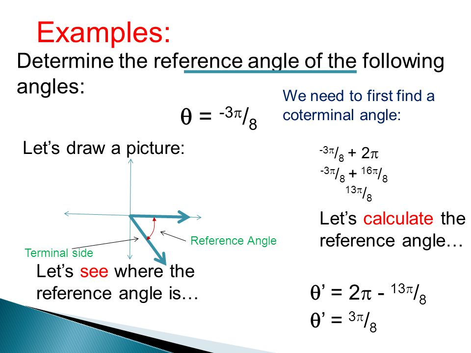 Examples: Determine the reference angle of the following angles: = -3 / 8 Lets draw a picture: Lets see where the reference angle is… Terminal side Re