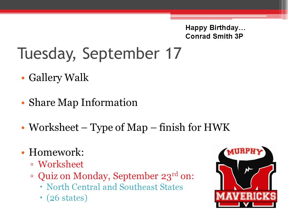 Wednesday, September 18 Turn in Homework What are the important parts of maps.