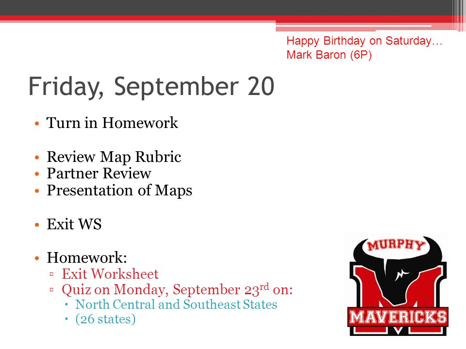 Friday, September 20 Turn in Homework Review Map Rubric Partner Review Presentation of Maps Exit WS Homework: Exit Worksheet Quiz on Monday, September