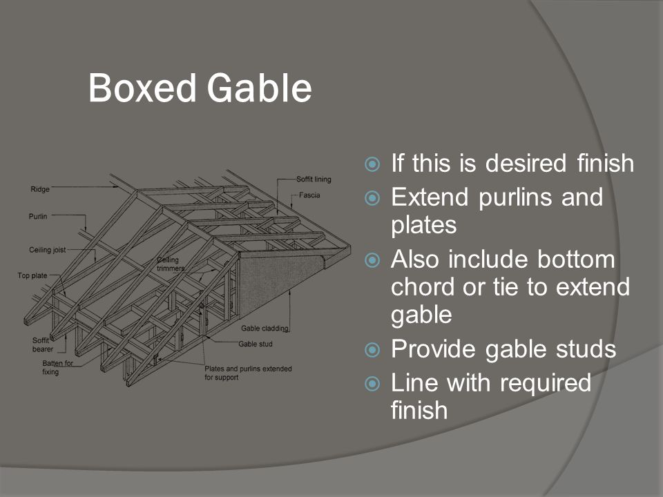Verge Finishes Your ref: P44 This is the section at the end of the gable roof Where roof surface meets the barge or the verge board Finishes depend on roofing material
