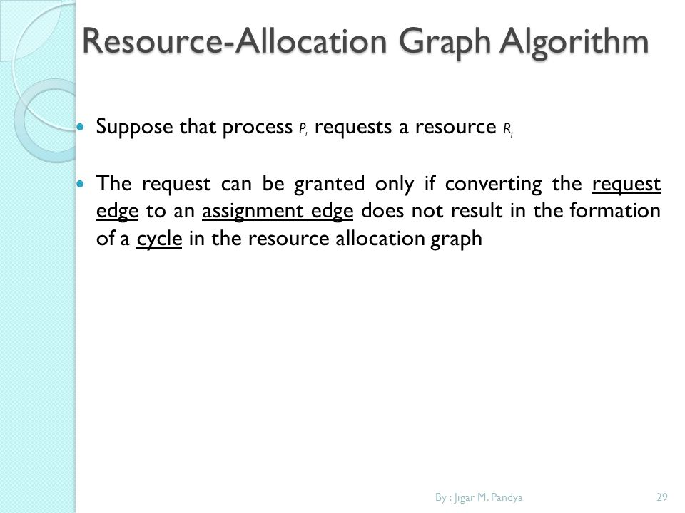 By : Jigar M. Pandya29 Resource-Allocation Graph Algorithm Suppose that process P i requests a resource R j The request can be granted only if convert