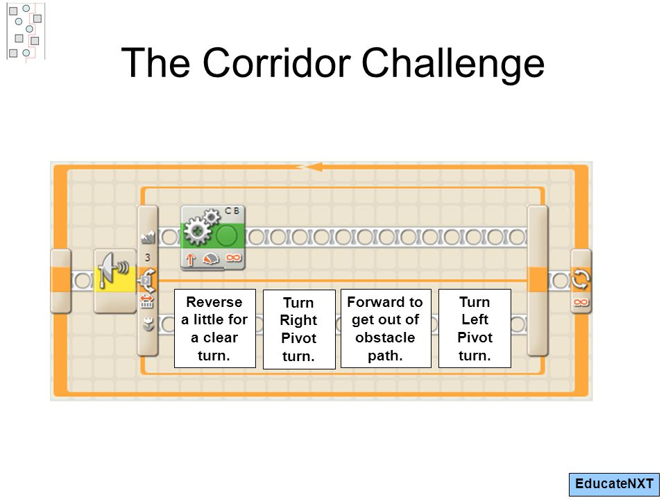 EducateNXT The Corridor Challenge Reverse a little for a clear turn.