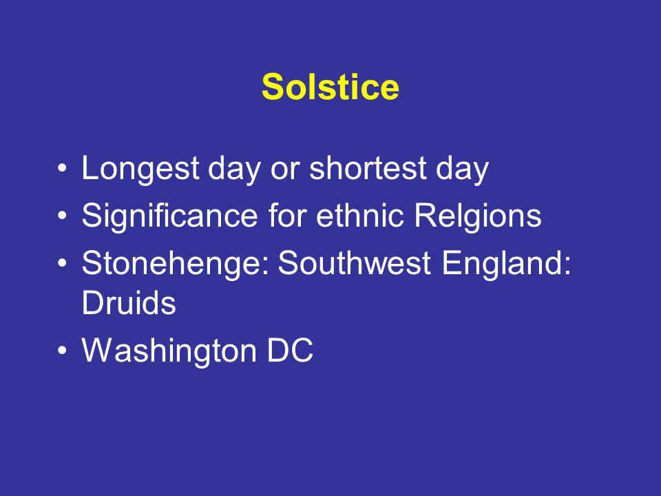 Solstice Longest day or shortest day Significance for ethnic Relgions Stonehenge: Southwest England: Druids Washington DC