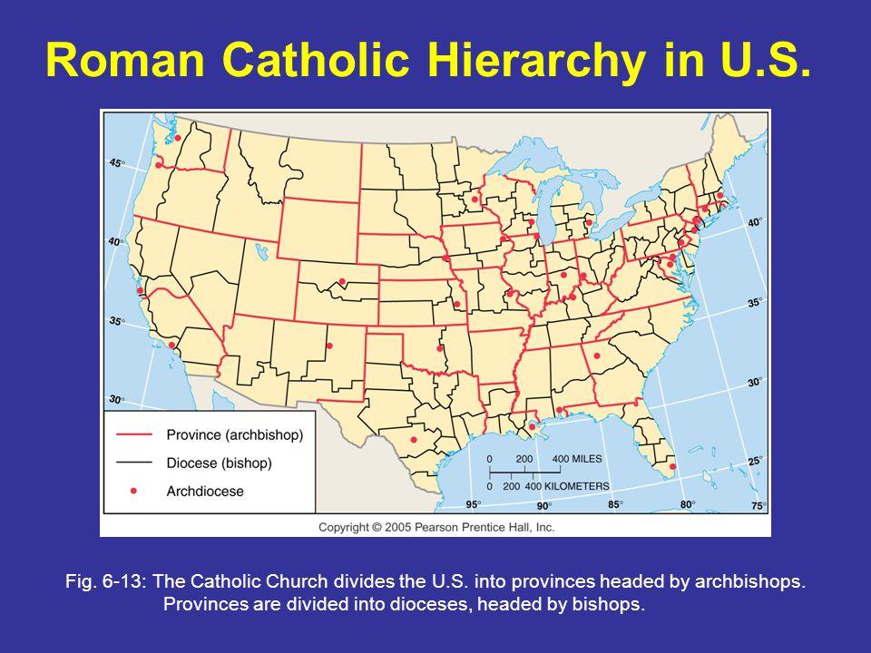 Roman Catholic Hierarchy in U.S.Fig. 6-13: The Catholic Church divides the U.S.