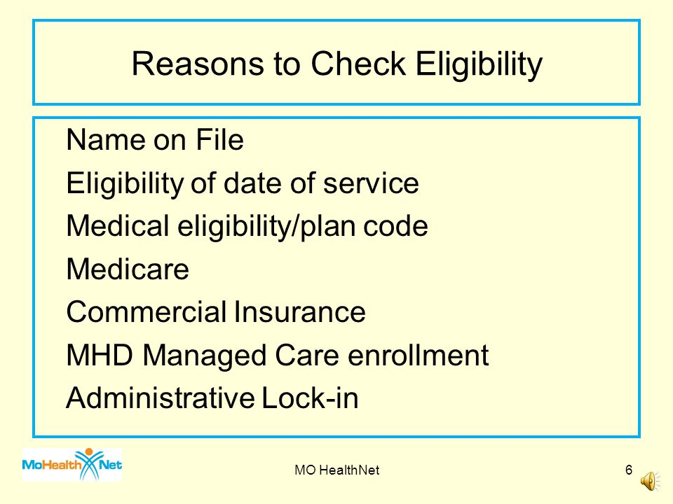 There are several ways to check eligibility: * Internet at emomed.com or * IVR (Interactive Voice Response) at 573/751-2896.
