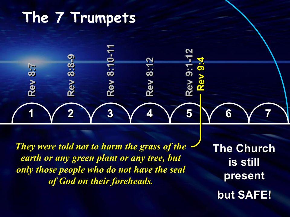 1 1 2 2 3 3 4 4 5 5 6 6 7 7 The 7 Trumpets Rev 8:7 Hail, Fire and Blood Rev 8:8-9 Burning Mountain Rev 8:10-11 Star - Wormwood Rev 8:12 Sun Smitten Rev 9:1-12 Plague of Locusts Rev 9:13-11:14 Plague of Horsemen Rev 11:15 LAST TRUMPET Rev 9:4