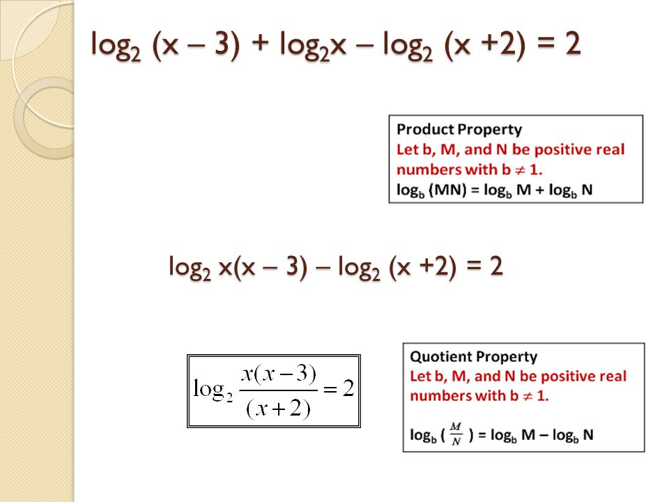 log 2 (x – 3) + log 2 x – log 2 (x +2) = 2 log 2 x(x – 3) – log 2 (x +2) = 2