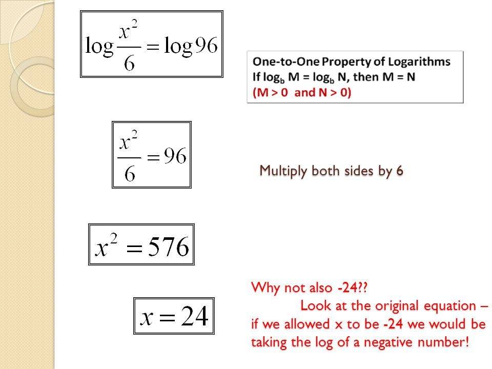 Why not also -24?? Look at the original equation – if we allowed x to be -24 we would be taking the log of a negative number! Multiply both sides by 6