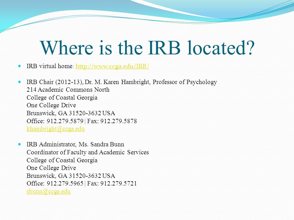 Where is the IRB located.