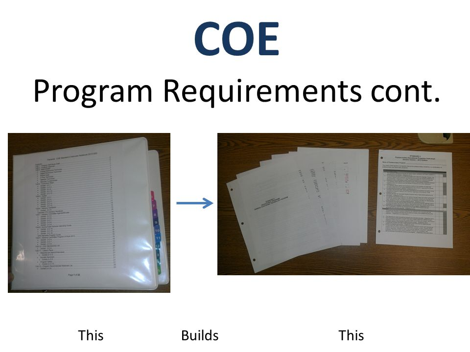 COE Program Requirements cont. This Builds This