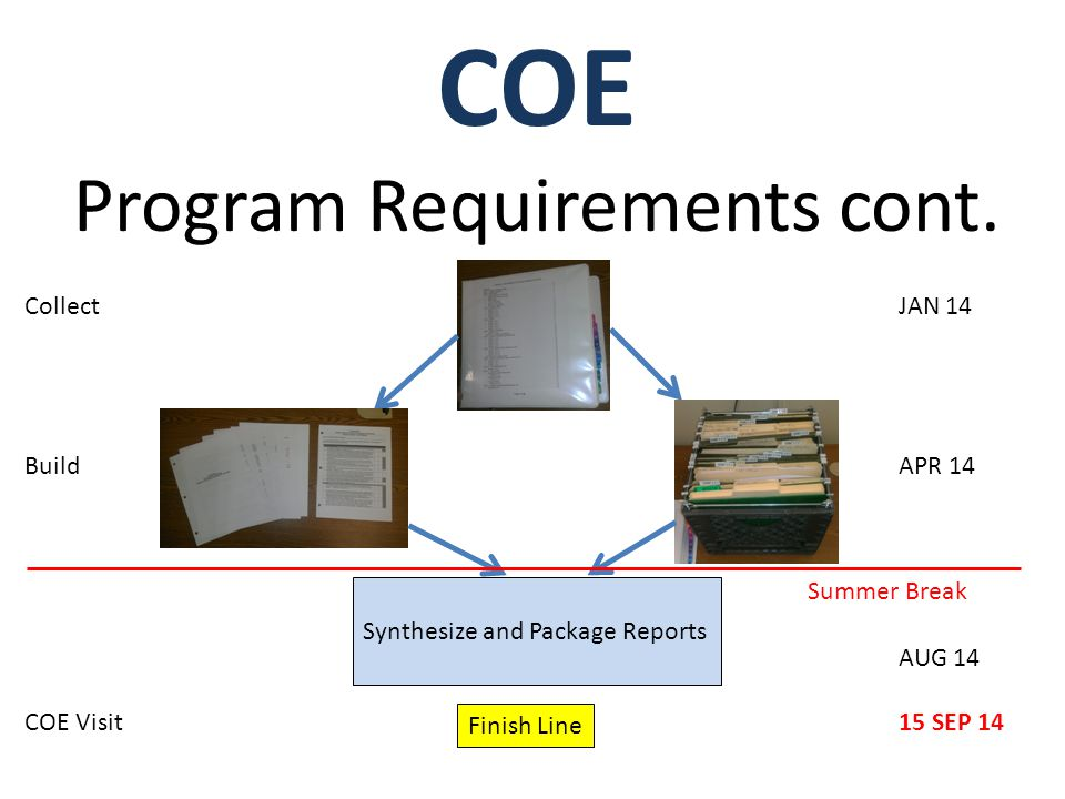 COE Program Requirements cont.