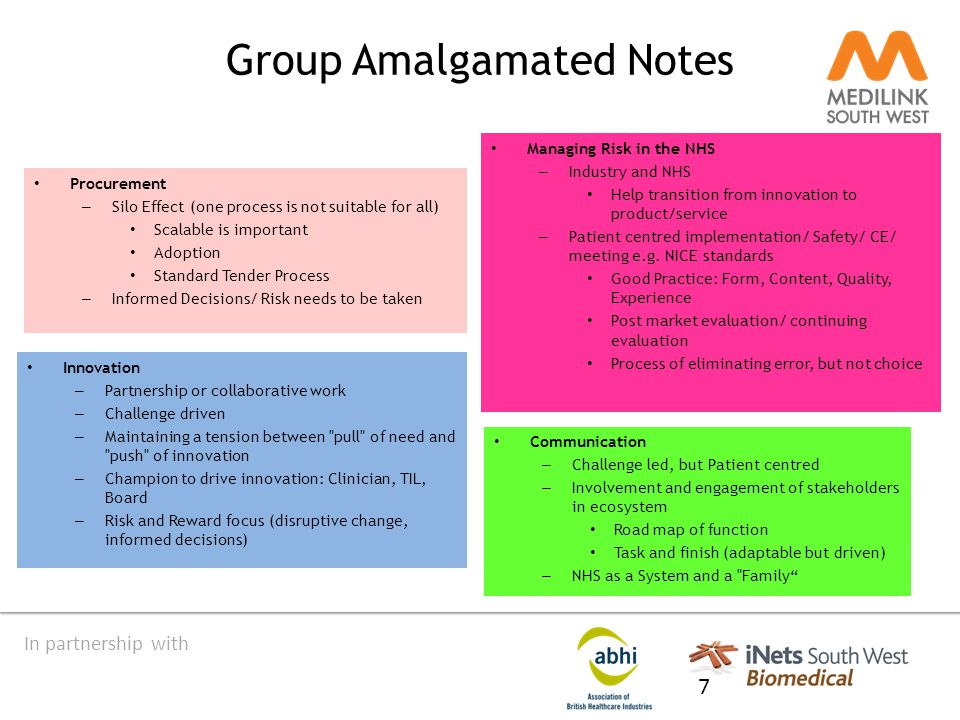 In partnership with Group Amalgamated Notes Procurement – Silo Effect (one process is not suitable for all) Scalable is important Adoption Standard Tender Process – Informed Decisions/ Risk needs to be taken 7 Managing Risk in the NHS – Industry and NHS Help transition from innovation to product/service – Patient centred implementation/ Safety/ CE/ meeting e.g.