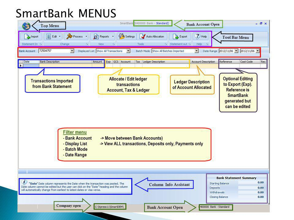 SmartBank MENUS