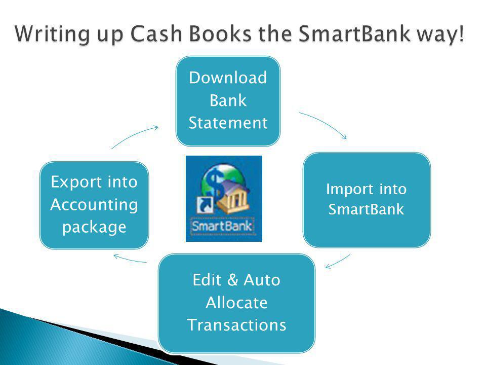 Step 1) Download Bank Statement files Step 2) Open SmartBank Step 3)Import Bank Statement file into SmartBank Step 4) Allocate (Auto) & Edit ledger transactions Step 5) Export the allocated transactions Step 6)Import into Accounting package(e.g.Pastel) -> Direct Import to Pastel coming soon...