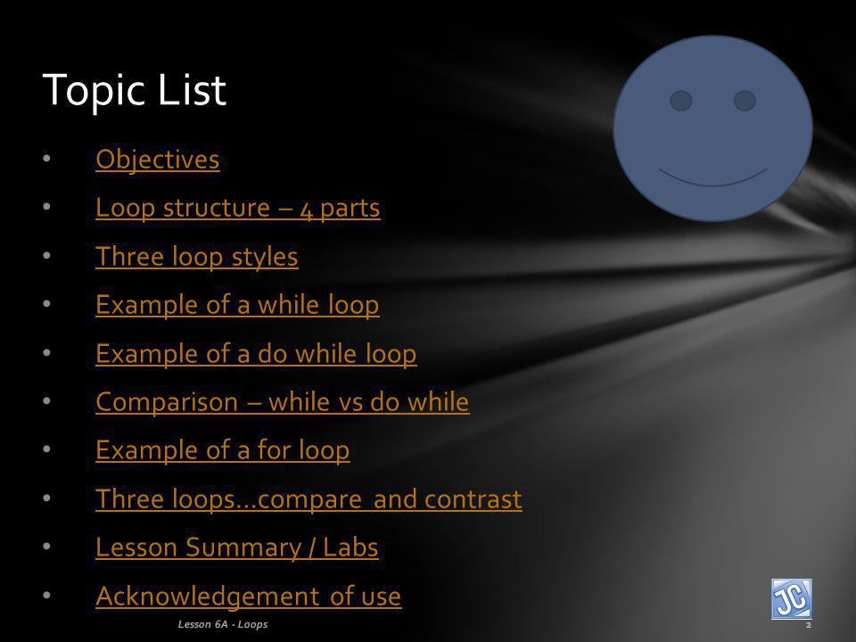 Objectives Loop structure – 4 parts Three loop styles Example of a while loop Example of a do while loop Comparison – while vs do while Example of a for loop Three loops…compare and contrast Lesson Summary / Labs Acknowledgement of use Topic List Lesson 6A - Loops2