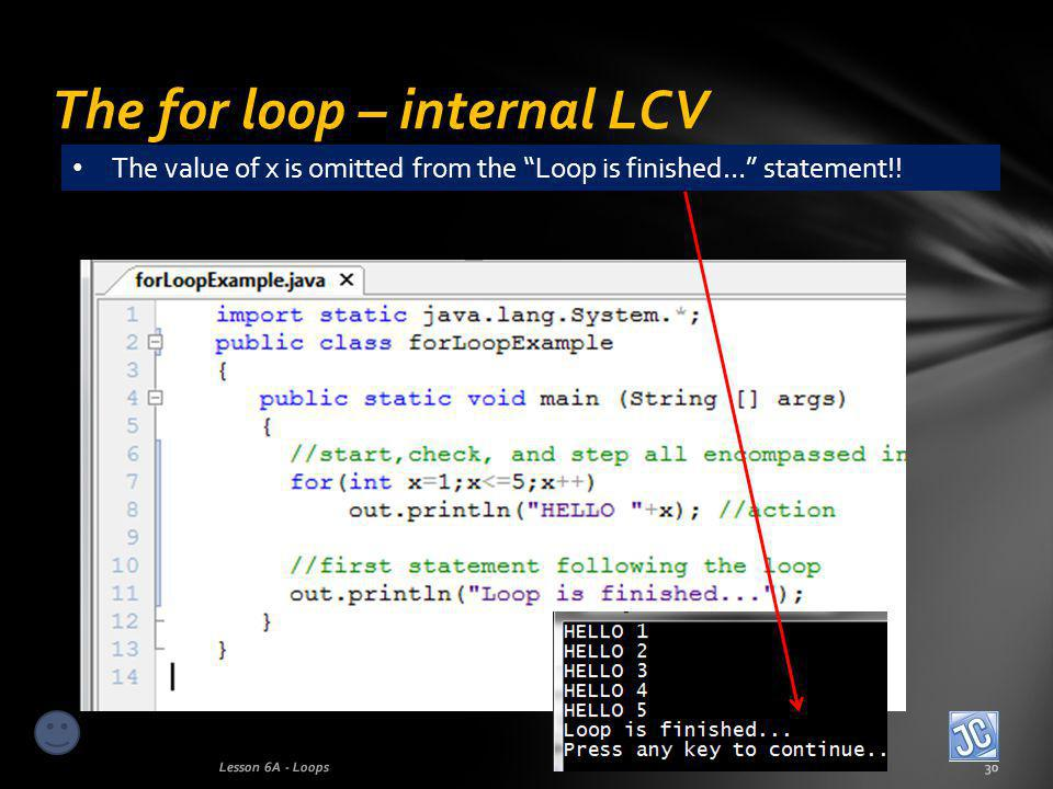 The for loop – internal LCV Lesson 6A - Loops30 The value of x is omitted from the Loop is finished… statement!!