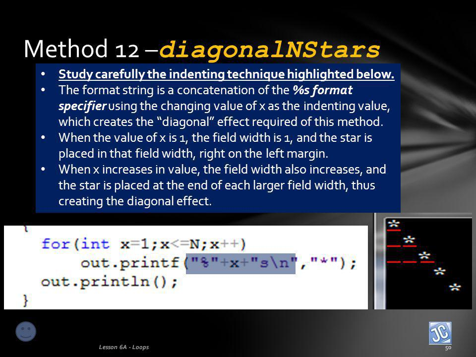 Method 12 – diagonalNStars Lesson 6A - Loops50 Study carefully the indenting technique highlighted below.