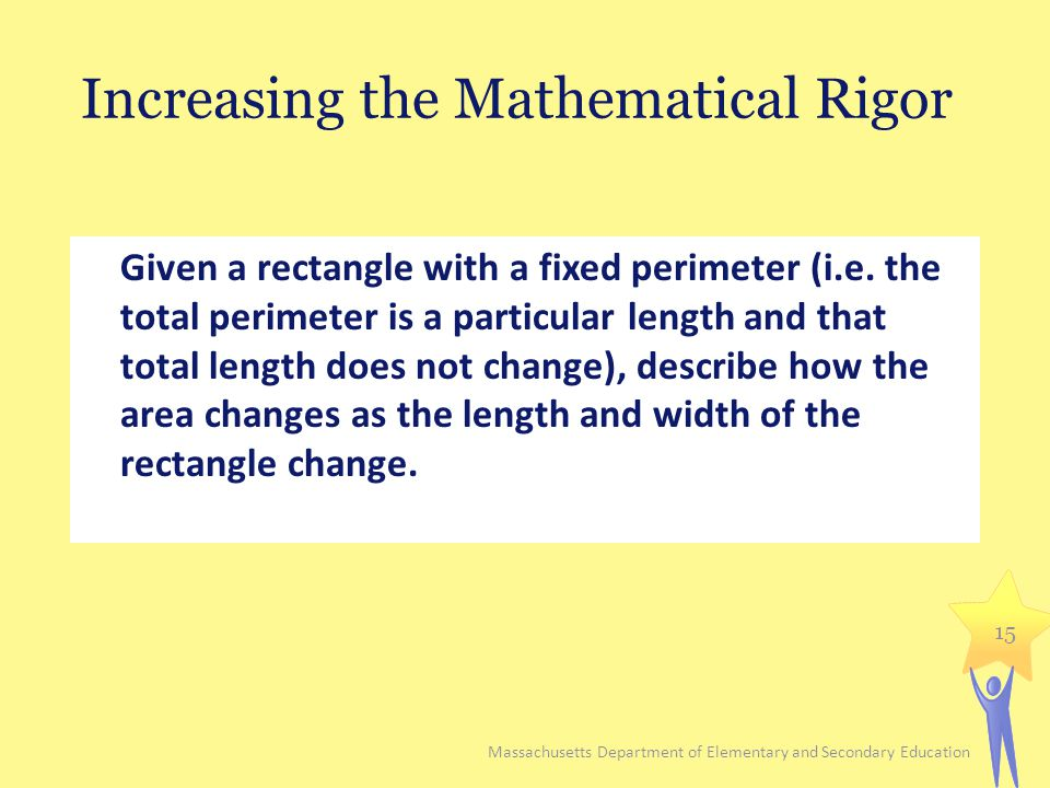 Increasing the Mathematical Rigor Given a rectangle with a fixed perimeter (i.e. the total perimeter is a particular length and that total length does