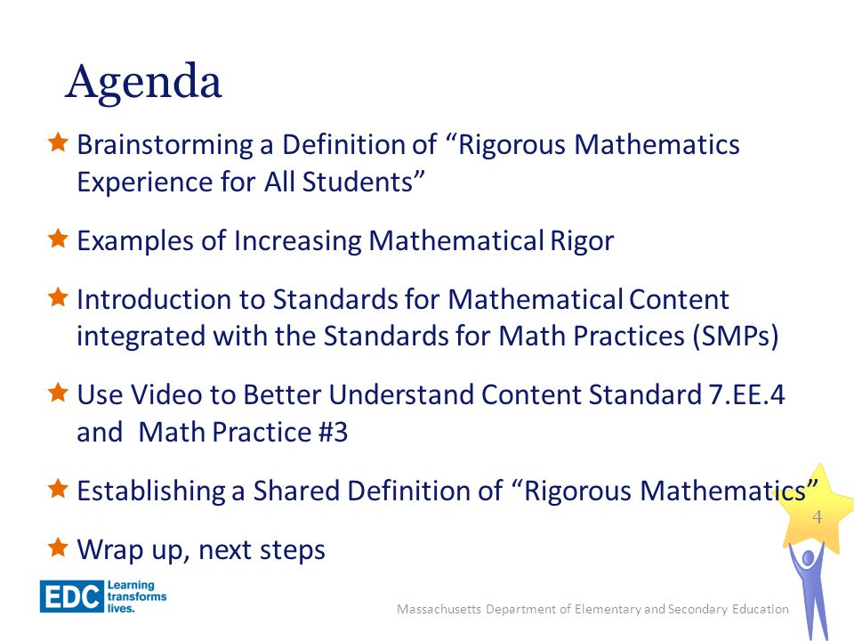 Examples of Increasing Mathematical Rigor Massachusetts Department of Elementary and Secondary Education 5