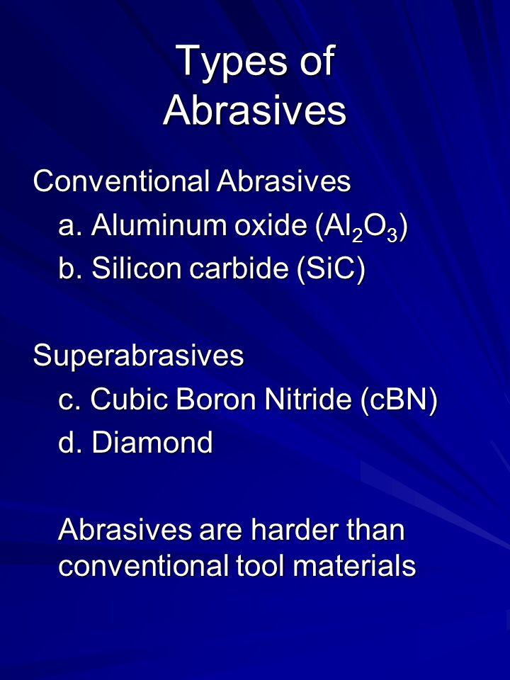 Types of Abrasives Conventional Abrasives a. Aluminum oxide (Al 2 O 3 ) b. Silicon carbide (SiC) Superabrasives c. Cubic Boron Nitride (cBN) d. Diamon