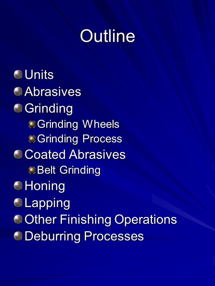 Outline UnitsAbrasivesGrinding Grinding Wheels Grinding Process Coated Abrasives Belt Grinding HoningLapping Other Finishing Operations Deburring Proc