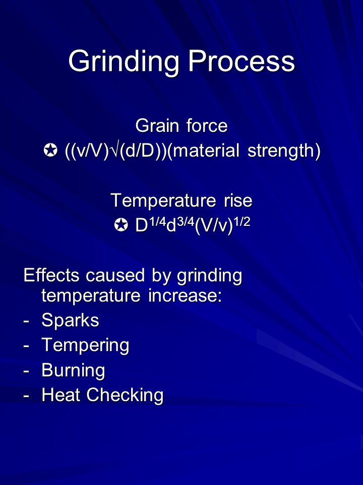 Grain force ((v/V)(d/D))(material strength) ((v/V)(d/D))(material strength) Temperature rise D 1/4 d 3/4 (V/v) 1/2 D 1/4 d 3/4 (V/v) 1/2 Effects cause