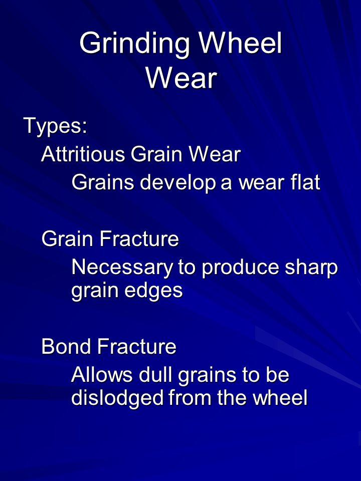 Grinding Wheel Wear Types: Attritious Grain Wear Grains develop a wear flat Grain Fracture Necessary to produce sharp grain edges Bond Fracture Allows