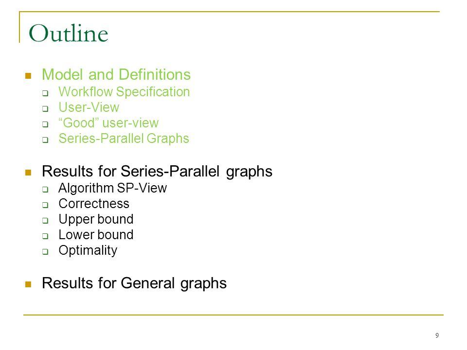 Workflow Specification Workflow Specification: (G, s, t, R) A directed graph G(V, E) Unique start module (source) s and unique finish module (sink) t R: set of relevant modules NR: V – R, non-relevant modules s, t R |V| = n, |E| = m, |R| = k 10 s R-node NR-node t