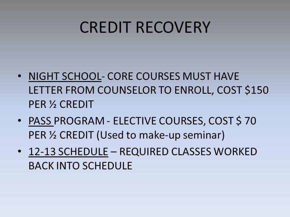 CREDIT RECOVERY NIGHT SCHOOL- CORE COURSES MUST HAVE LETTER FROM COUNSELOR TO ENROLL, COST $150 PER ½ CREDIT PASS PROGRAM - ELECTIVE COURSES, COST $ 70 PER ½ CREDIT (Used to make-up seminar) 12-13 SCHEDULE – REQUIRED CLASSES WORKED BACK INTO SCHEDULE