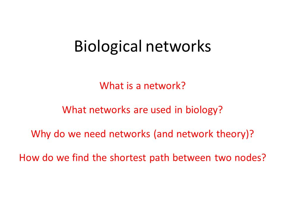 Biological networks What is a network. What networks are used in biology.