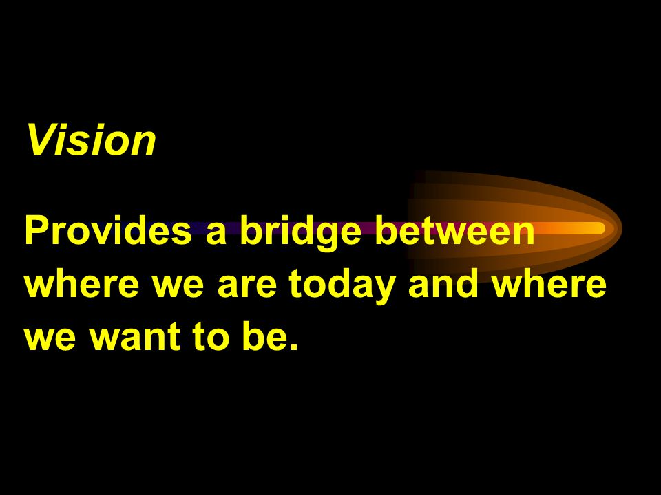 Vision Provides a bridge between where we are today and where we want to be.