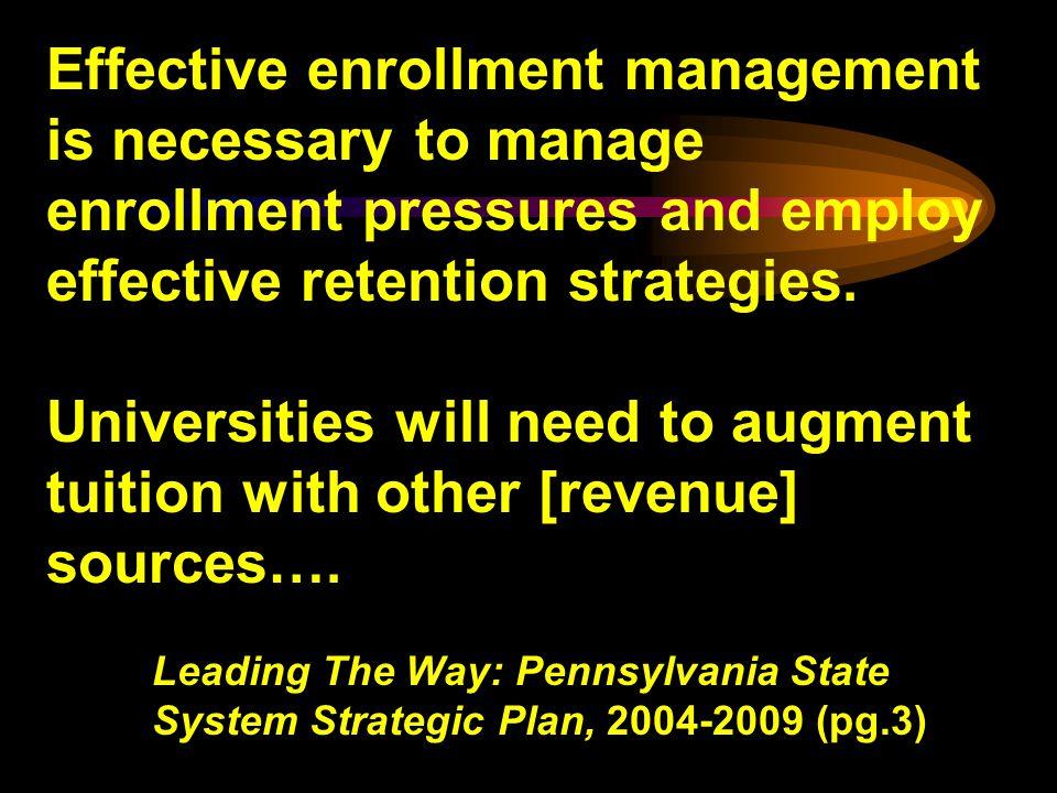Effective enrollment management is necessary to manage enrollment pressures and employ effective retention strategies.