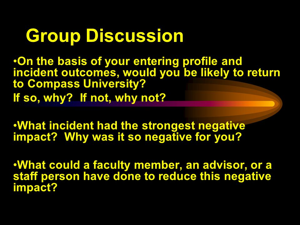 Group Discussion On the basis of your entering profile and incident outcomes, would you be likely to return to Compass University.